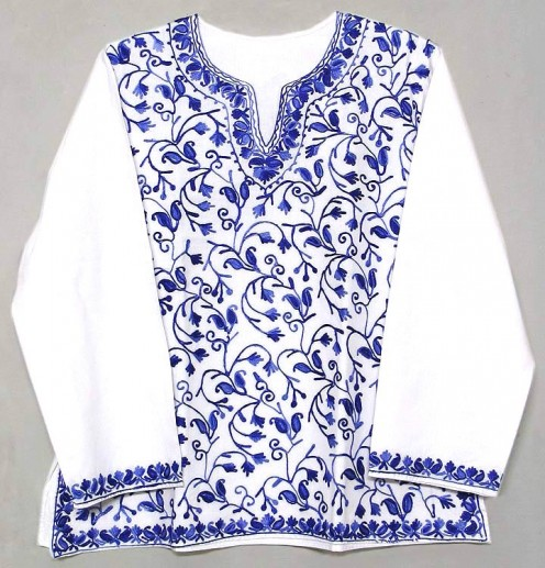 kashimiri embroidery on a kurta or a top