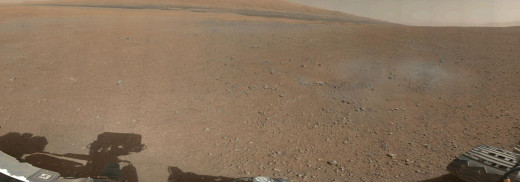 360-degree color panorama of Gale Crater taken by NASA's Curiosity rover.