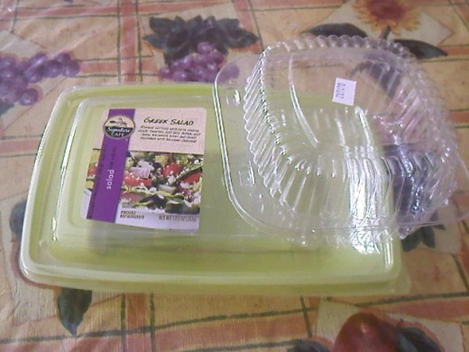 Empty salad package saved to be reuse.