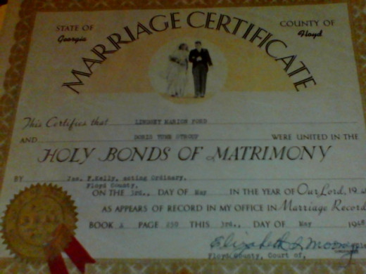 (C)Kathy Allen Authentic Marriage certificate.  NOT TO BE USED, COPIED DOWNLOADED WITHOUT EXPRESS PERMISSION.