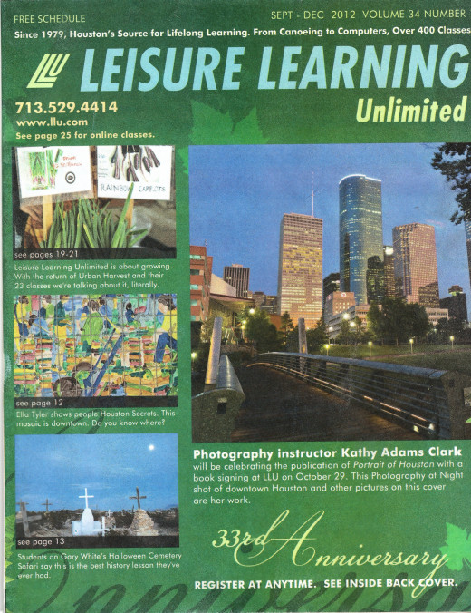 "This ""Leisure Learning Unlimited"" catalog lists fun and interesting classes for adults offered in the Houston area."