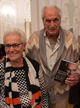 Ottavio Missoni (11 February 1921 - 9 May 2013) and wife Rosita Jelmini presenting the book on his life.