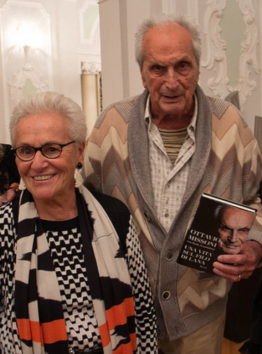 Ottavio Missoni (11 February 1921 – 9 May 2013) and wife Rosita Jelmini presenting the book on his life.