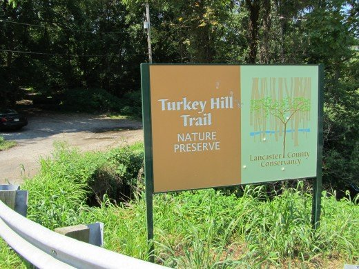 Turkey Hill Trail / Lancaster Conservancy sign marking the trailhead parking area.