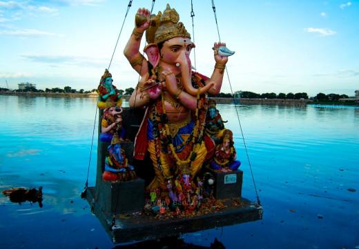 Immersing Ganesha idol