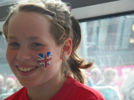 Esther, a young supporter of Team GB.