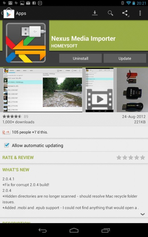 App screen at Play Store