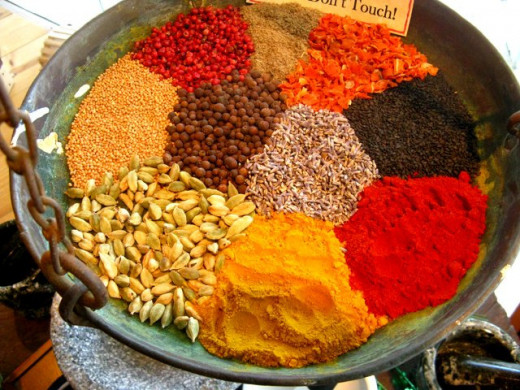 Spices in various shades of orange