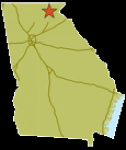 Map of Georgia Showing Unicoi State Park in extreme north Georgia
