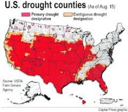 A map showing the counties in America experiencing drought conditions.