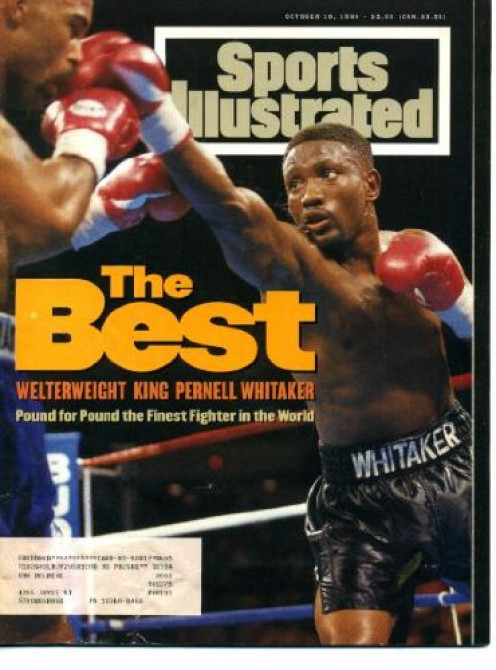 Pernell Whitaker jabs Buddy McGirt on the cover of Sports Illustrated. Sweet Pea beat McGirt both times they fought.