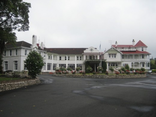 Waitomo Hotel on the hill overlooking the surrounding hills where the Waitomo Caves are situated. We stayed in this art deco hotel when we visited Waitomo