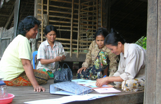 Community-based savings bank in Cambodia. The core feature of the microfinance is the community of lenders that support each other, which is important in promoting a healthy culture of responsibility to work and repay.