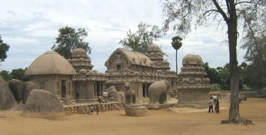 Pandavar Raths. Five small temples built in different styles of Dravidian Architecture.