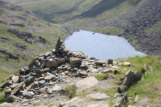 Looking down at Goat's Water from Goat Hawse between the Coniston Old Man and Dow Crag