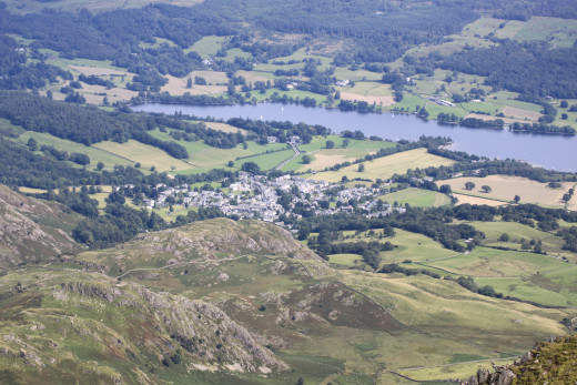 Looking down on Coniston from the top of the Old Man of Coniston