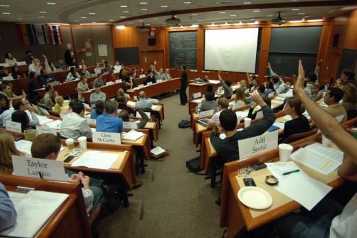 Students in a Harvard Business School classroom.