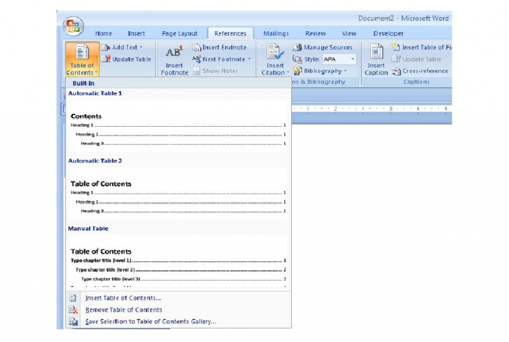 how to create table of contents in word 2007