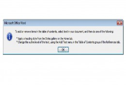 Error received when creating a Table of Contents in a blank Word 2007 document.