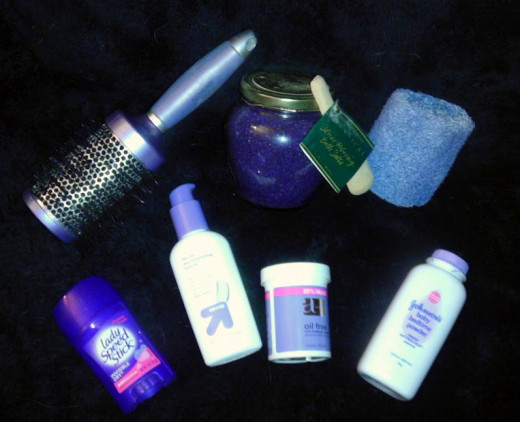 A selection of beauty products marketed using purple