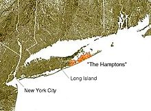 As can be seen by this illustrative photo of Long Island, that the Island itself looks like a Large fish, or Whale. To the North lies the North Fork of the Island facing  Connecticut. South facing the mighty Atlantic, is the infamous Hampton's.