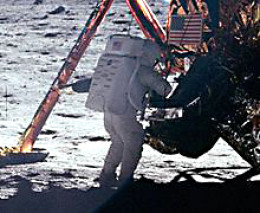 Neil Armstrong on the Moon. One of the curious oversights of the Moon mission was that few photos of Armstrong exist - most are of Aldrin, because Armstrong was taking the photos