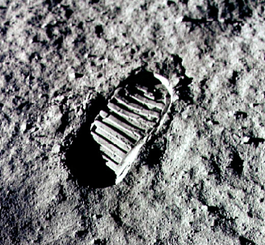 Footprint on the Moon - the first imprint of mankind on another world