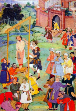 A depiction of the execution of Hosain Mansoor Al Halaj