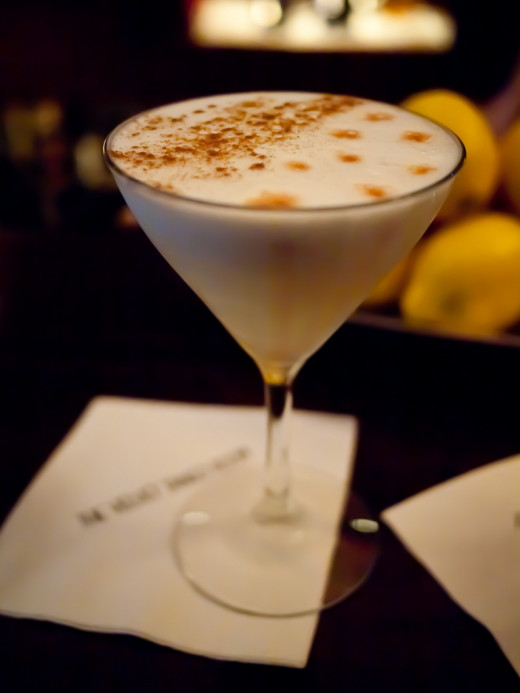 A dry Pisco Sour, with bitters and egg white