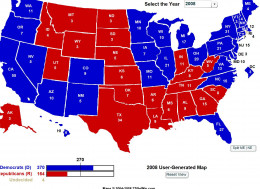 This map shows the electoral votes for the 2008 Presidential election.