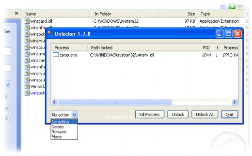 Locked process and file actions to be done through Unlocker.