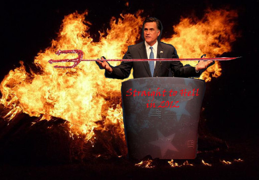 Romney accepts Satan's coveted Ultimate Evil pitchfork trophy at this year's demons and devils convention.