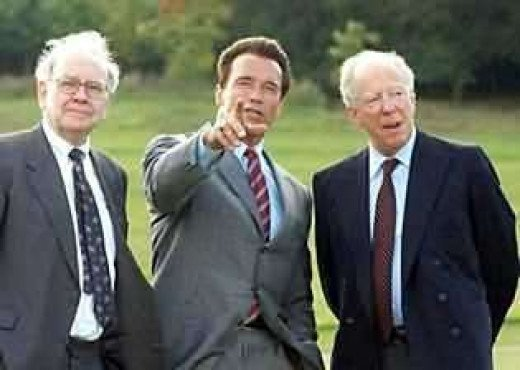 Warren Buffett, Arnold Schwarzenegger and Lord Jacob Rothschild