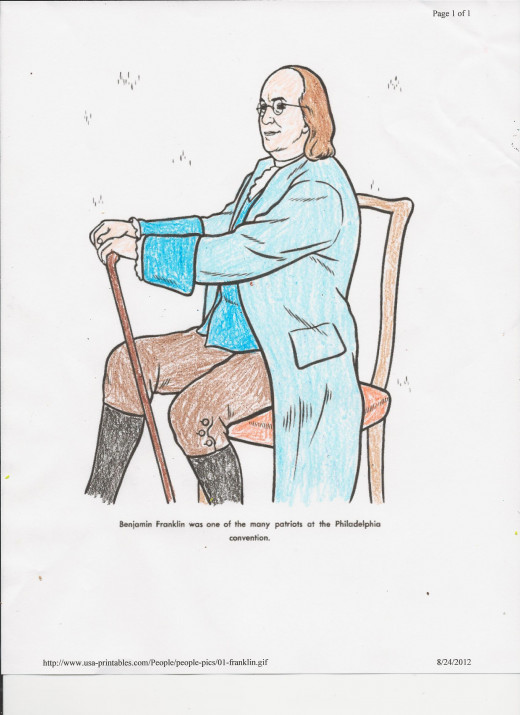 Colored illustration from our study of Ben Franklin