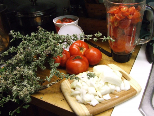 Ingredients For Garden Fresh Tomato Sauce.