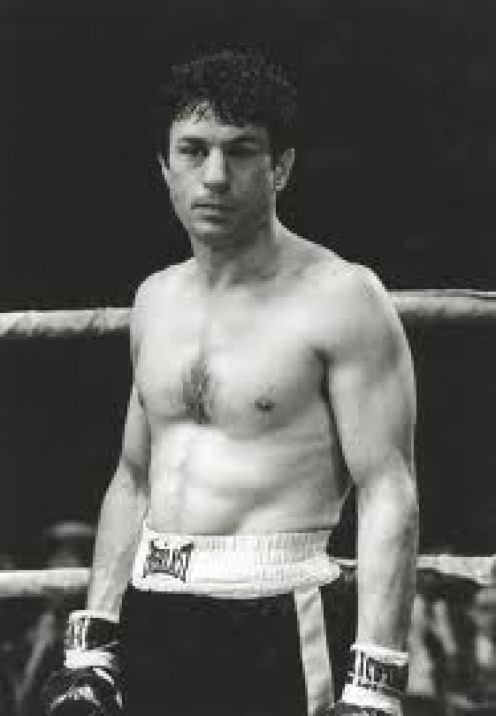 Robert De Niro in Raging Bull about Boxing Great Jake La Motta. The film follows La Motta's struggles in and out of the ring.