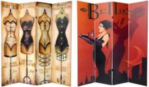 Double sided mannequin room divider in three or four panels