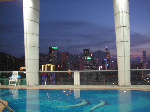 Rooftop pool at the Metropark with spectacular views over the city