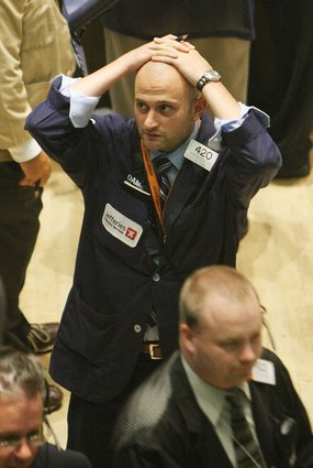 Wall Street after news of Bear Sterns requiring a bailout (AFP/Getty Images: Mario Tama)