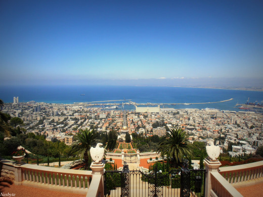 Overlooking the Bahai Gardens and Haifa Bay.