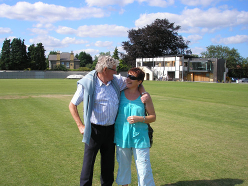 me and my dad at our Cricket Club - Y.M.C.A. Having Epilepsy did not stop me playing sport.