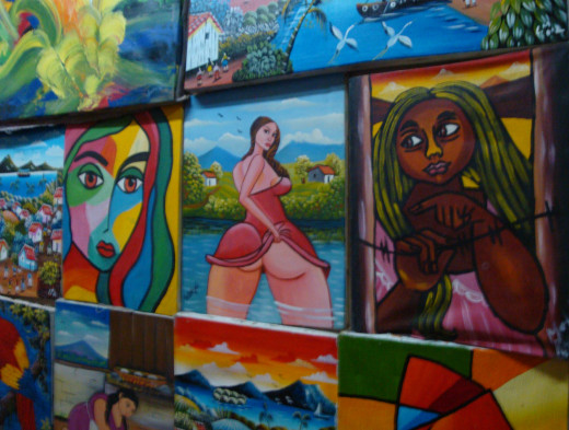 Paintings of women in the main market of Masaya.