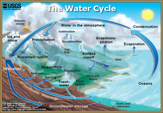 The water cycle takes the earth's water in a circular path from the oceans, lakes and rivers, into the atmospher, down to the earth, and collected back into the waterways.