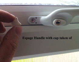 Espage handle with plastic cap taken of