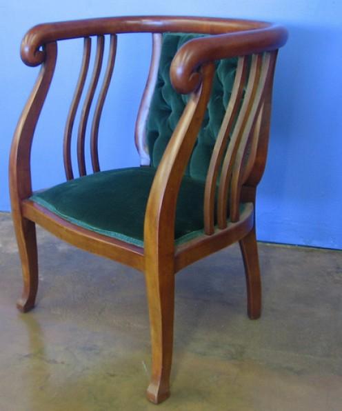 Art Deco chair upholstered in velvet.