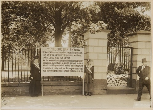 Suffragists picket White House for Voting Rights with a sign that started a riot in 1917.