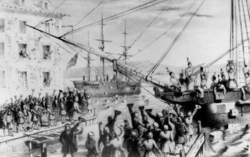 America colonists dressed as Native Americans and dumped Britain's tea into Boston Harbor as a protest against British taxes. A Revolution and a Constitution would soon follow.