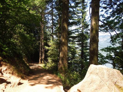Narrow Path in Multnomah Falls Walking Trail