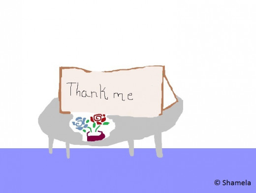 My drawing of a card that says: 'Thank me'