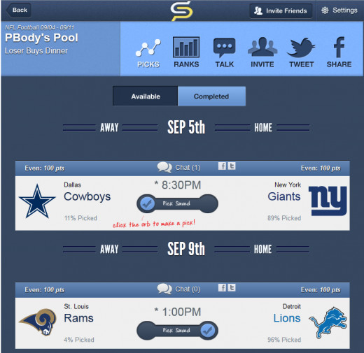Step 3 is to make your picks!  Sports Picker will do the rest for you.  One thing to consider is that the favorite/underdog points will be changed when the spread is released for each game (usually a couple days before the games).